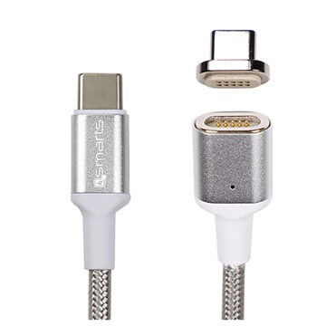 4smarts GravityCord Ultimate Magnetic USB-C to USB-C Kabel - 1.8m - Sølv