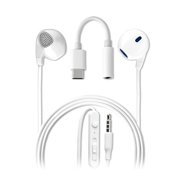 4smarts Melody In-Ear Headset med USB-C Audio-adapter - Hvit