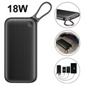 Baseus 20000mAh USB-C PD+QC3.0 Powerbank - 18W - Svart