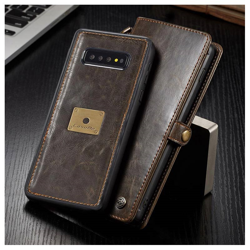 Caseme Luxury Detachable Samsung Galaxy S10+ Lommebok-deksel - Brun