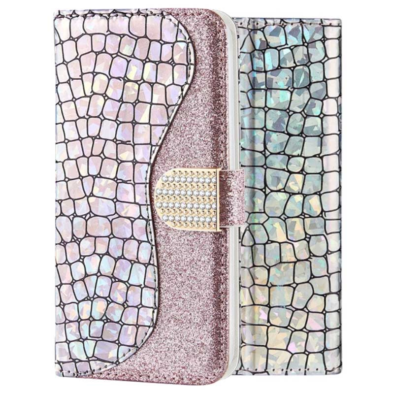 Croco Bling iPhone XR Lommebok-deksel - Sølv