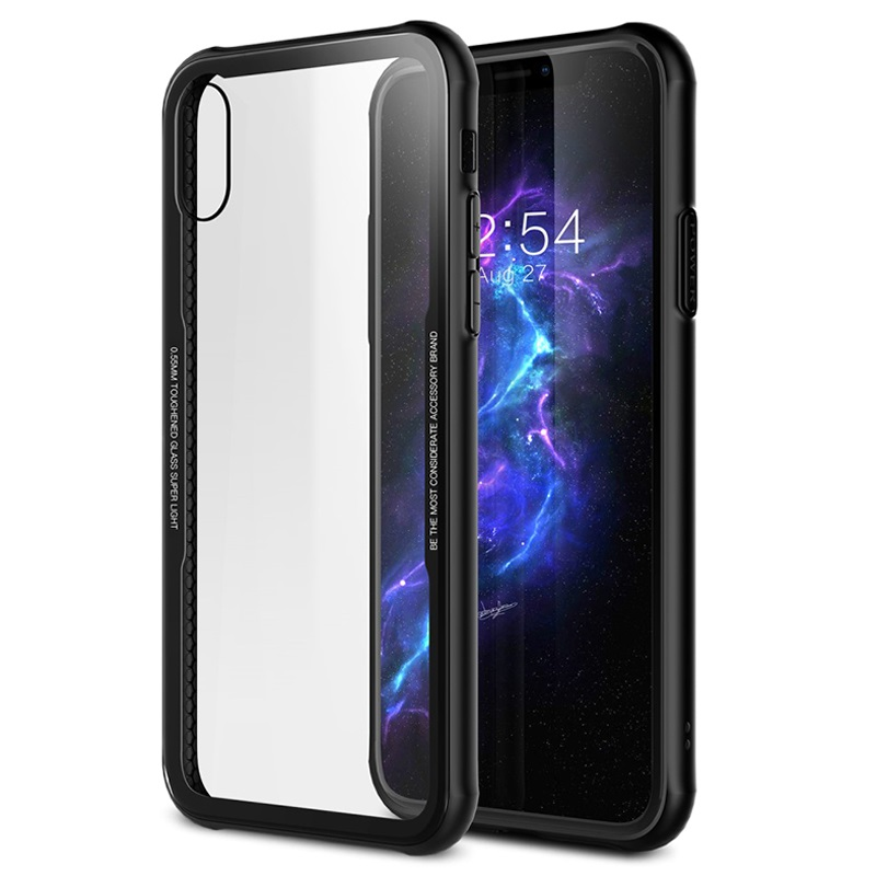 dropped iphone and screen is black iphone x drop proof tpu herdet glass deksel svart 18401