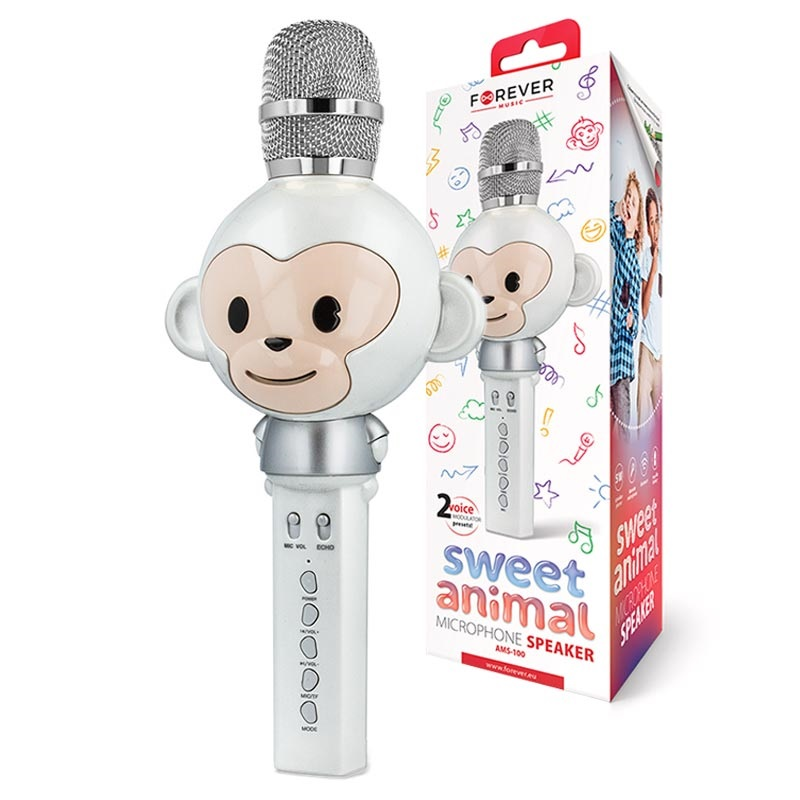 Forever Mikrofon med Bluetooth högtalare Animal Svart AMS
