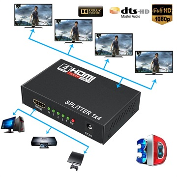 Full HD HDMI Splitter 1x4 - Audio & Video - Svart