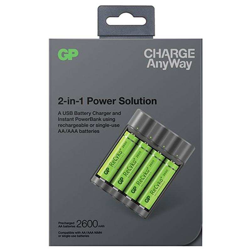 GP Charge AnyWay AAAAA USB Batterilader & Powerbank