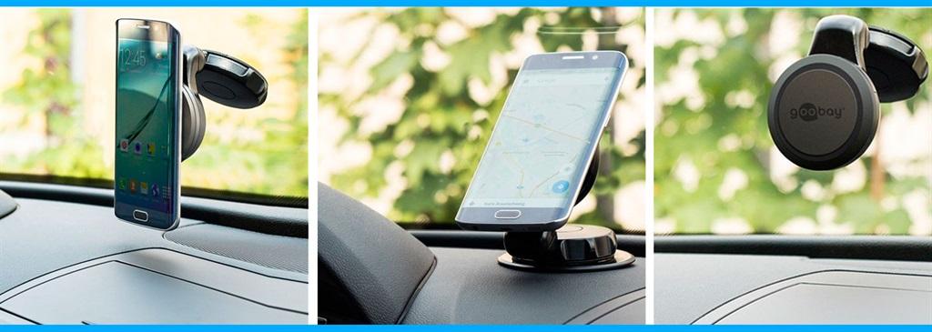 Universal mobilholder til bil (msugekopp) Svart Goobay