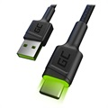 Green Cell Ray Rask USB-C Kabel med LED-lys - 1.2m