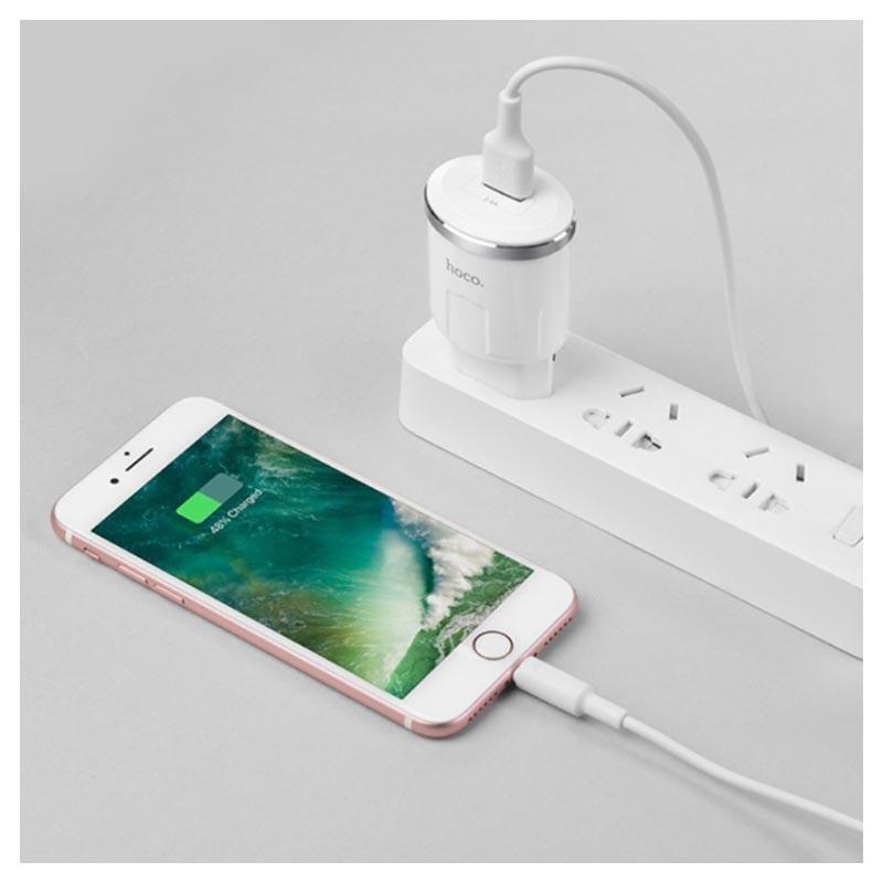 Hoco C37A USB Vegglader med Lightning Kabel 2.4A Hvit