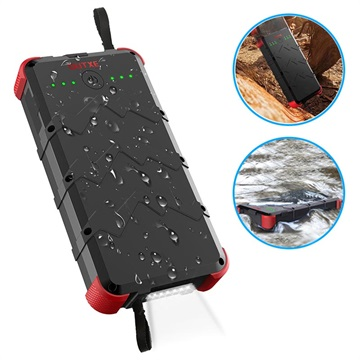 Outxe Savage 20000mAh Quick Charge Rugged Powerbank - Svart / Rød