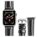 Qialino Apple Watch Series 5/4/3/2/1 Lærrem - 42mm, 44mm - Svart
