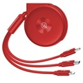 Usams US-SJ280 3-i-1 Inntrekkbar USB-kabel