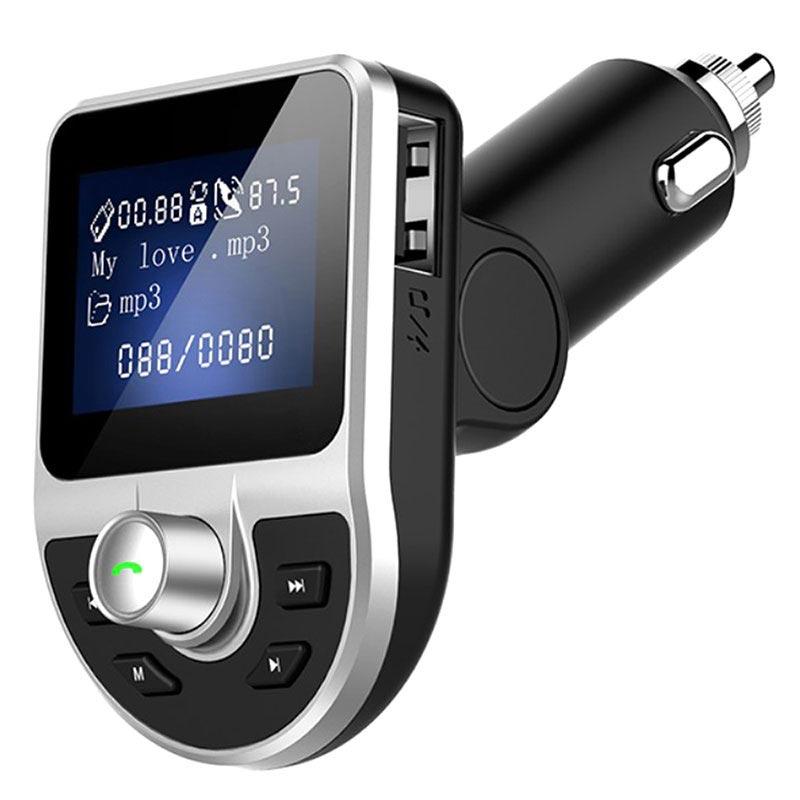 Pæn Dobbel USB-billader & Bluetooth FM-sender BT39 - Svart AV74