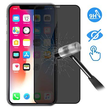 Devia 3D Full Glass Privacy iPhone X / iPhone XS Skjermbeskytter - 9H, 0.26mm - Svart