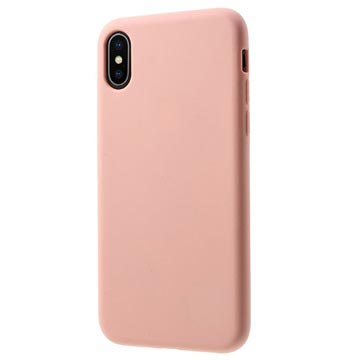 iPhone X Mutural Liquid Ultra Slim Silikondeksel - Rosa