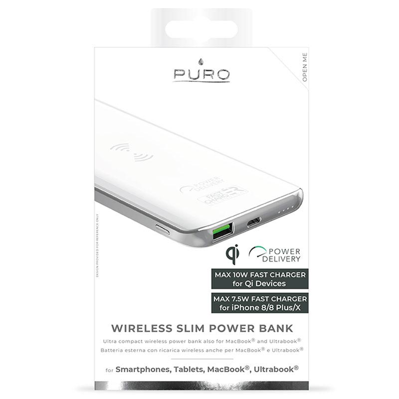 Puro Slim Trådløs Lader Powerbank USB, Type C 8000mAh Hvit