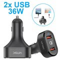 Vinsic VSCC208 Qualcomm Quick Charge 3.0 Billader - 2x USB, 6A, 36W